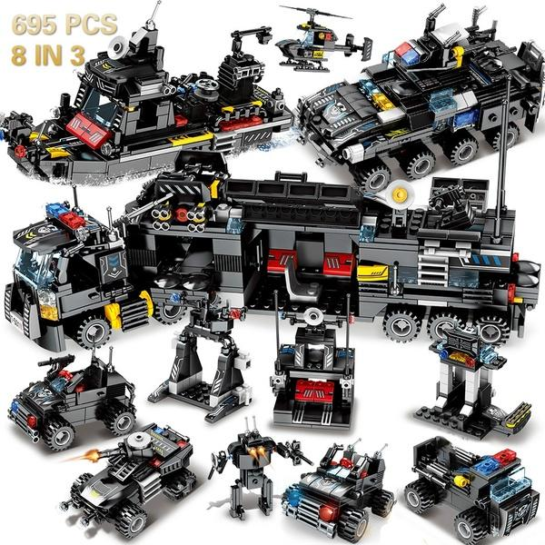 695PCS 8in3 Military command Truck  Police Helicopter Boat Truck Bricks