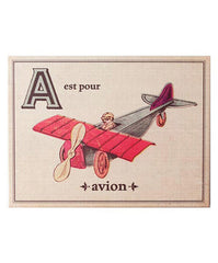 French Alphabet Wood Mounted Linen Prints