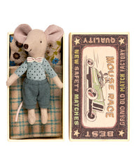 Maileg big brother bow tie mouse in matchbox