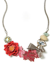 Elements by Jill Schwartz Red Flower Necklace