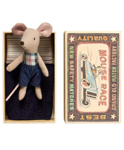 Maileg little brother plaid mouse in matchbox