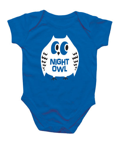 Night owl blue baby onesie