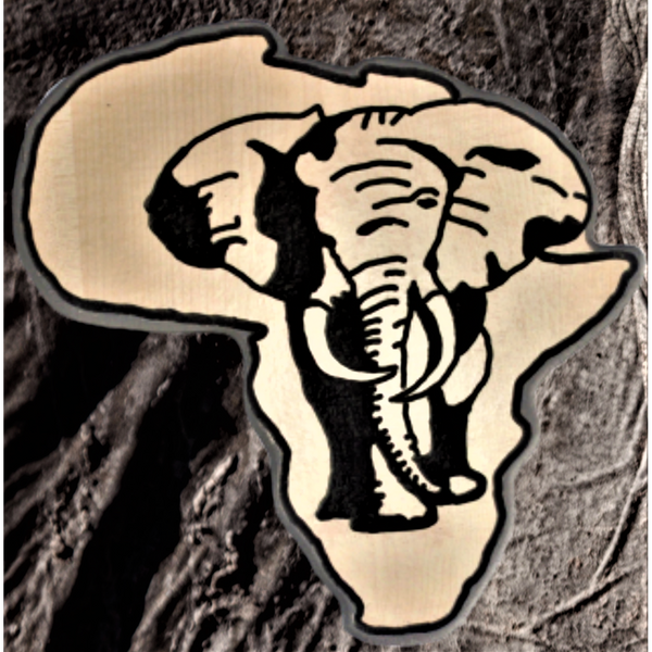 African Elephant Wall Art - Reclaimed Material