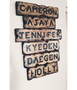 Personalised family name plaques - Wooden art pieces