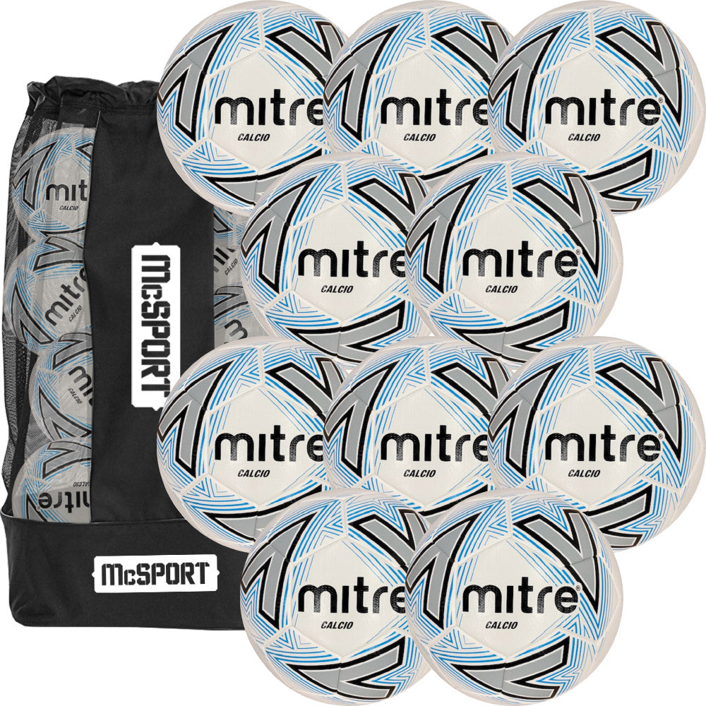 Mitre Training Footballs | Calcio 10 Pack + Bag Image McSport Ireland
