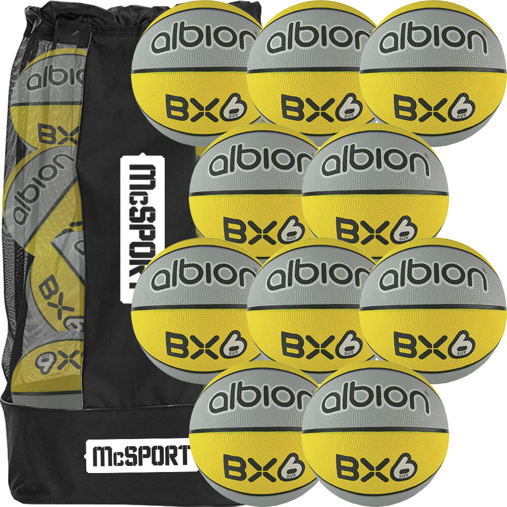 Albion BX Rubber Basketball  (10 Pack with Carry Bag) | Size 6 Image McSport Ireland