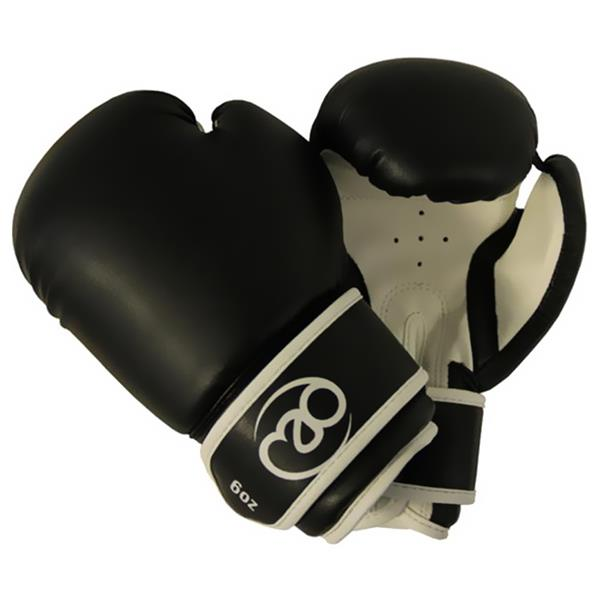 Fitness Mad Synthetic Leather Sparring Gloves 6oz | Black/White Image McSport Ireland