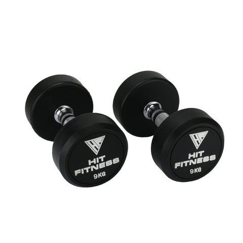 HIT FITNESS Round Rubber Dumbbells | 9kg Image McSport Ireland