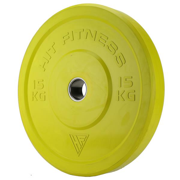 Hit Fitness 15kg Semi-Commercial Coloured Rubber Bumper Plate Image McSport Ireland