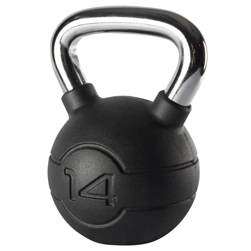 Jordan Black Rubber Kettlebell with Chrome Handle 14kg Image McSport Ireland