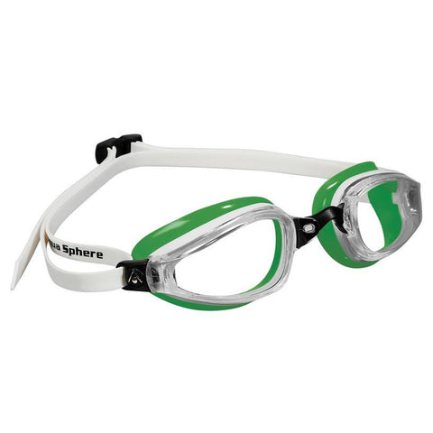 AquaSphere K180 Adult Goggle Clear Lens | White/Green Image McSport Ireland