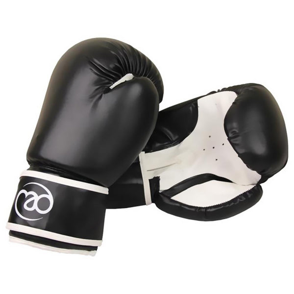 Fitness Mad Synthetic Leather Boxing Sparring Gloves 10oz-14oz| Black/White Image McSport Ireland
