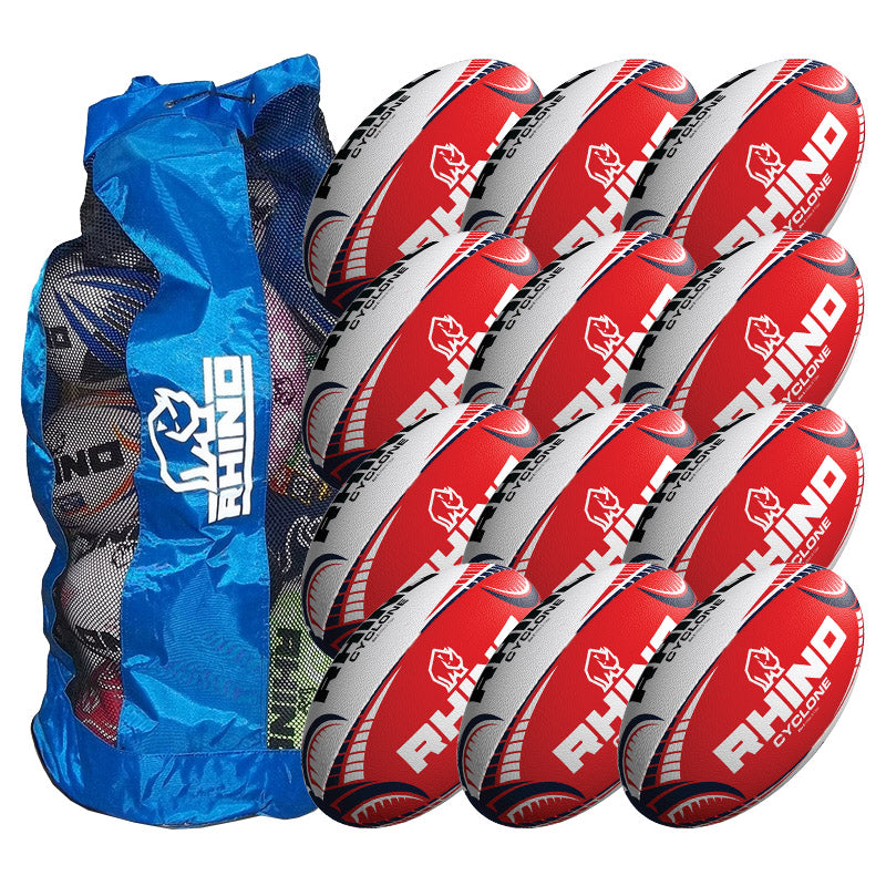 Rhino Cyclone Red Training Ball 12 Pack with Carry Bag | Size 4 Image McSport Ireland