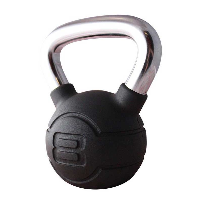 Jordan Black Rubber Kettlebell With Chrome Handle 4kg & 24kg Image McSport Ireland