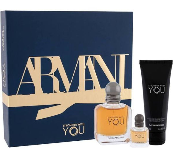 Armani Stronger With You 50ml Edt & 7ml Edt & 75ml Shower Gel Gift Set