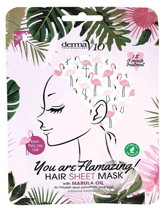 Derma V10 Flamingo Print Hair Sheet Mask Cocunut Fragrance With Marula Oil - Vegan