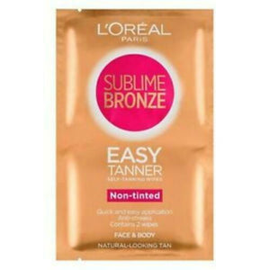 L'oreal Sublime Bronze Self Tan Easy Tanning 2 Wipes Face & Body Fake Tan (Twin Pack)