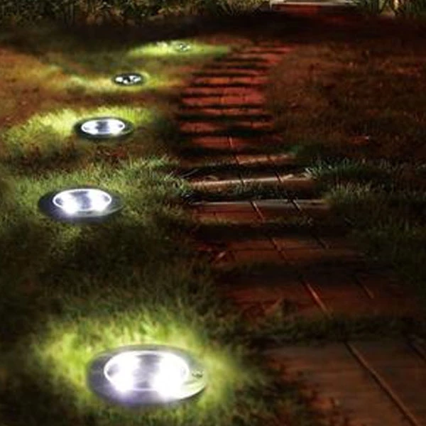 Solar Powered Automatic LED Disk light (4 pcs)