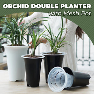Orchid Double Planter with Mesh Pot
