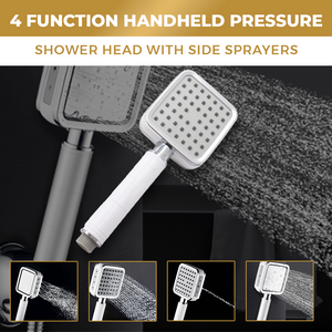 4 Function Handheld Pressure Shower Head with Side Sprayers