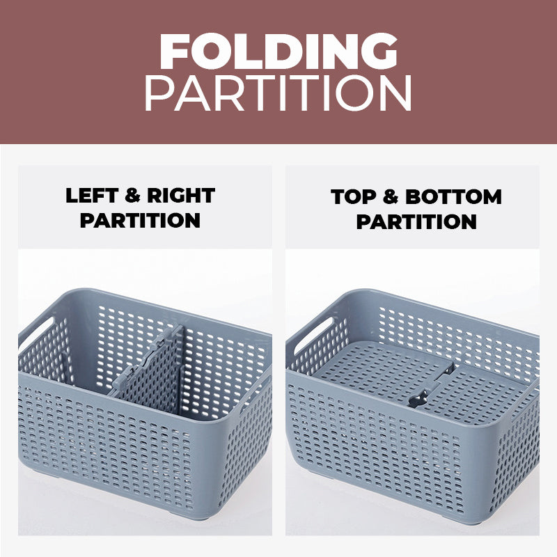 3-in-1 Drain and Foldable Partition Storage Box