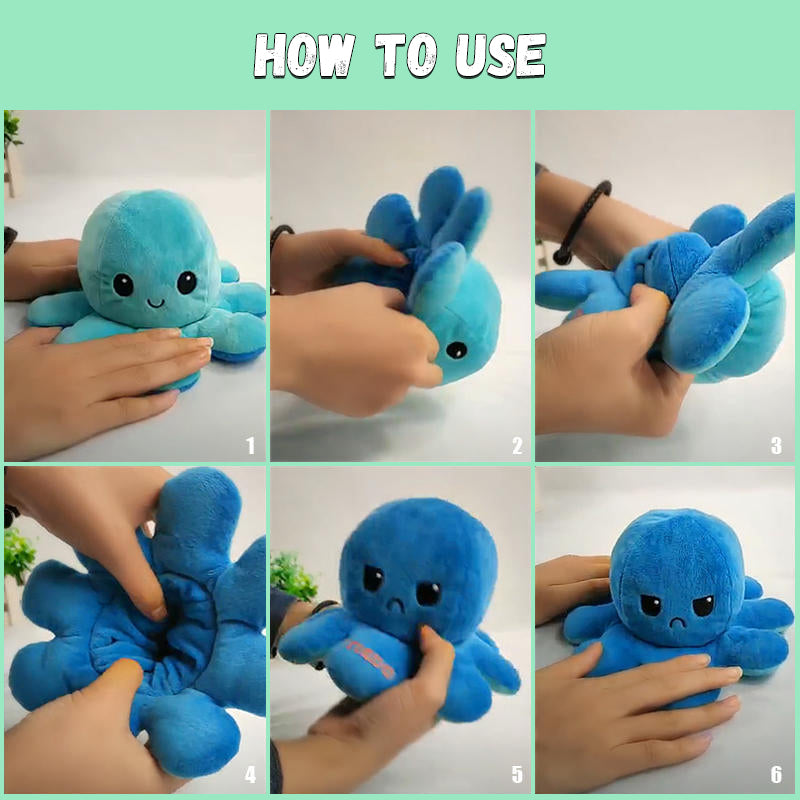 Kiddies Reversible Flip Octopus Stuffed Plushie
