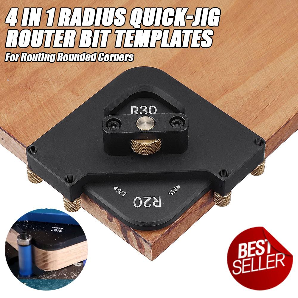 4 in 1 Radius Quick-Jig Router Bit Templates For Routing Rounded Corners