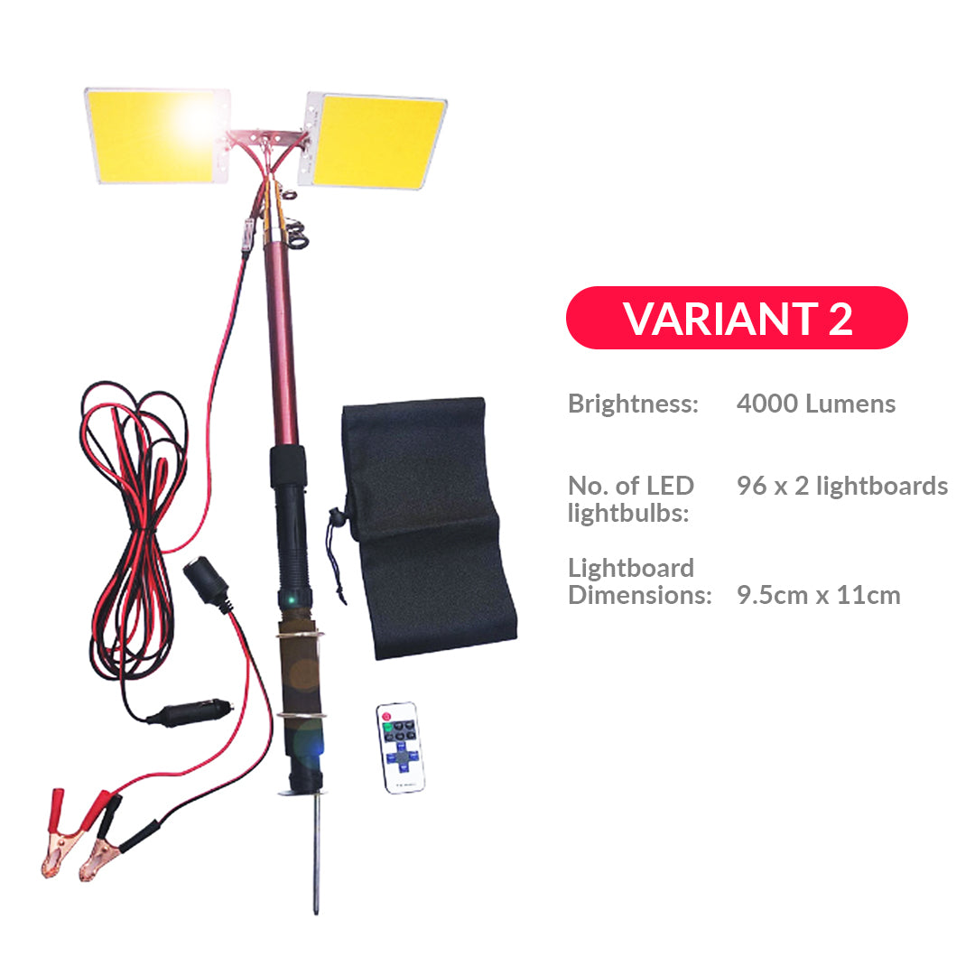 Remote Controlled Portable LED Lamp with Retractable 3.75 Meter Pole