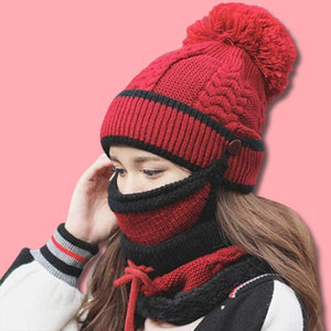 MaxCold 3PC Women's Knitted Winter Scarf Set