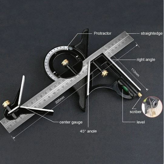 12 SAE Metric Stainless Steel Combination Square and Protractor Measuring Tool