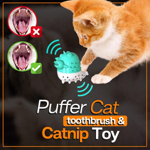 Puffer Cat Toothbrush and Catnip Toy