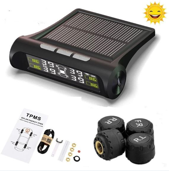 Solar Powered Tyre Pressure Monitoring System with LCD Display and Warning Alarm