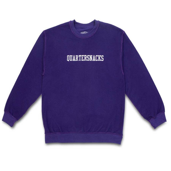 Quartersnacks Inside Out Embroidered Crewneck - Purple