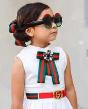 Load image into Gallery viewer, Posh Little Lady Black Jewel and Pearl Bow Tie