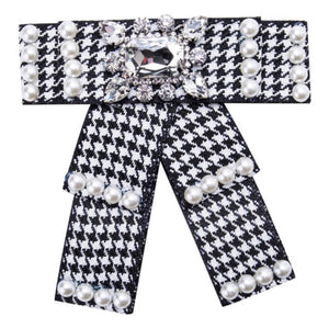 Posh Little Lady Pearl Houndstooth Bow Tie PRE-ORDER