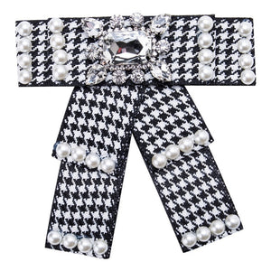 Posh Little Lady Pearl Houndstooth Bow Tie