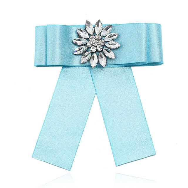 Posh Little Lady Crystal Satin Bow Tie Light Blue
