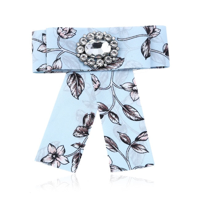 Posh Little Lady Light Blue Leaf Bow Tie