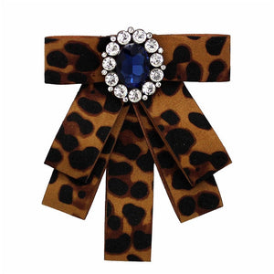 Posh Little Lady Leopard Bow Tie Blue Jewel