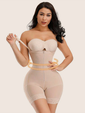 Moderate Control Two Plastic Bones Straps Full Body Shaper