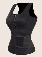 Black Large Size Waist Control  Front Zip Tight Fit Neoprene Vest