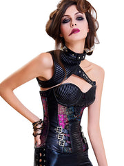 Dainty 13 Plastic Bones One Shoulder Buckled Overbust Corset Comfort Fashion