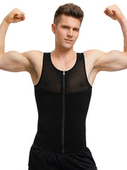 Zipper Men's Strong Compression Shirt to Chest Slimming Body Shaper