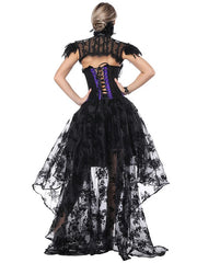 Glamourous Asymmetrical Corset Skirt Set Lace Stitching Top Comfort