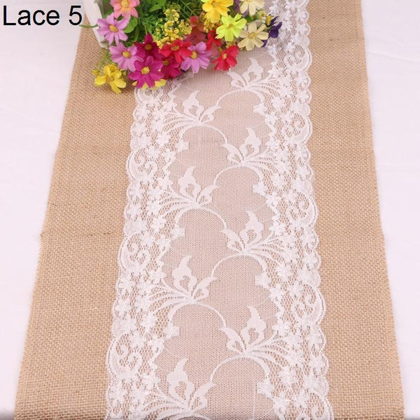 New Vintage White Lace Jute Table Runner