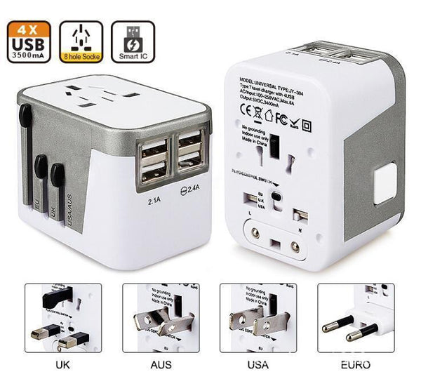 4 USB Port All in One Universal International Plug Adapter