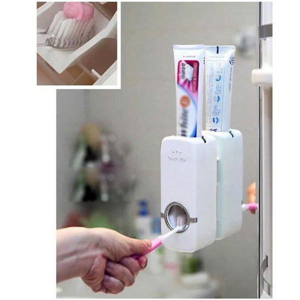 Toothpaste Dispenser and Toothbrush Holder Set