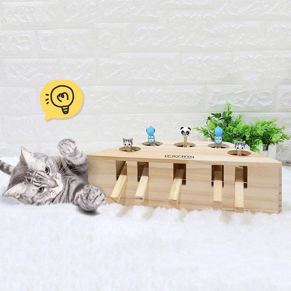 3/5-Hole Wooden Imitation Mole Mouse Playing Cat Game