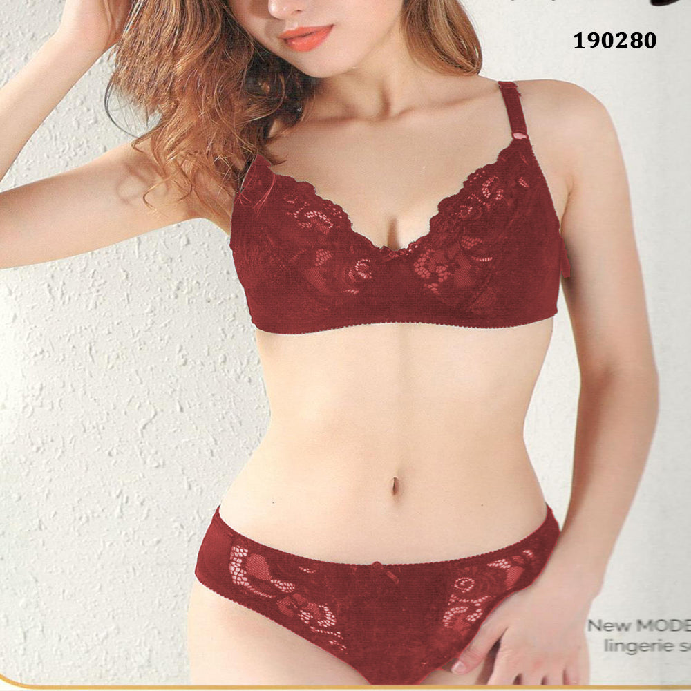 Maroon Intimate Lace non padded Bra Set