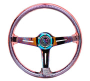 NRG Steering Wheel - Reinforced Matsuri 350mm with Red Acrylic and Geometric NeoChrome finish